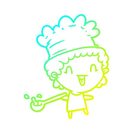 cold gradient line drawing of a cute cartoon happy chef Çizim