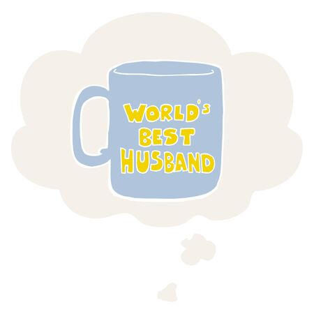worlds best husband mug with thought bubble in retro style
