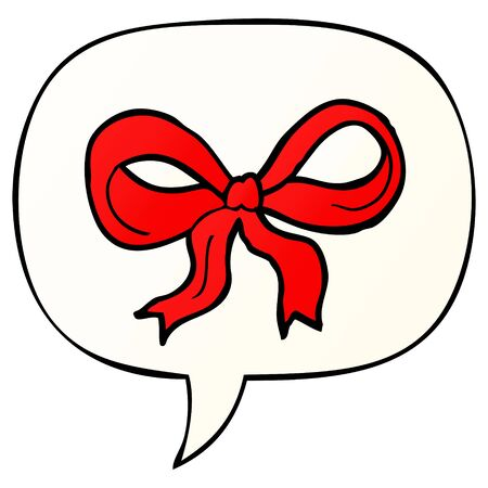 cartoon decorative bow with speech bubble in smooth gradient style Illustration