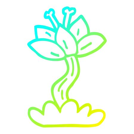 cold gradient line drawing of a cartoon red lilly Illustration