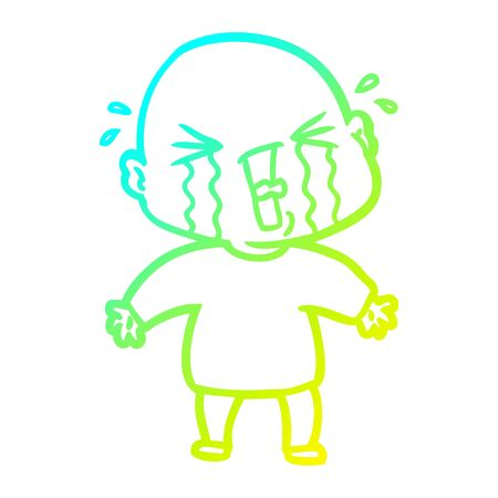 cold gradient line drawing of a cartoon crying bald man