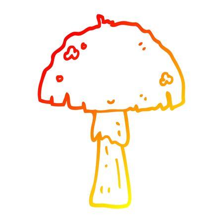 warm gradient line drawing of a cartoon mushroom Stock Illustratie