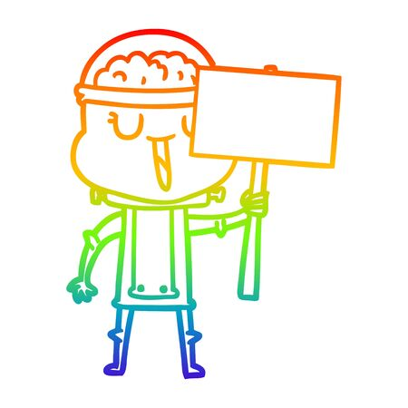 rainbow gradient line drawing of a happy cartoon robot with sign Foto de archivo - 129819666
