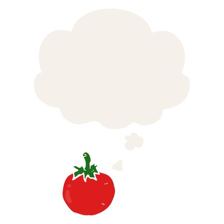 cartoon tomato with thought bubble in retro style