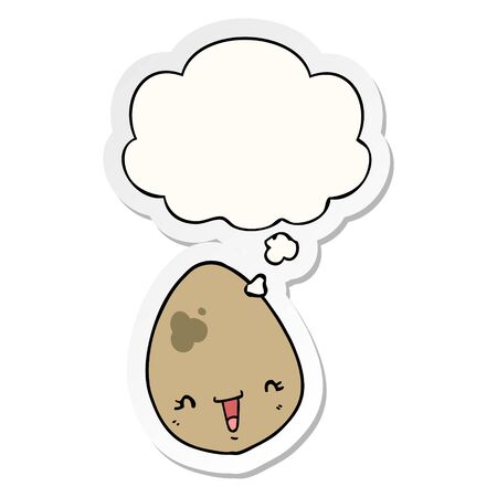 cartoon egg with thought bubble as a printed sticker