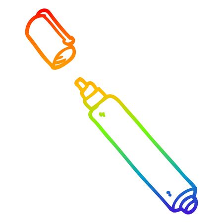rainbow gradient line drawing of a cartoon office pen