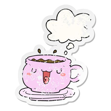 cute cartoon cup and saucer with thought bubble as a distressed worn sticker Иллюстрация