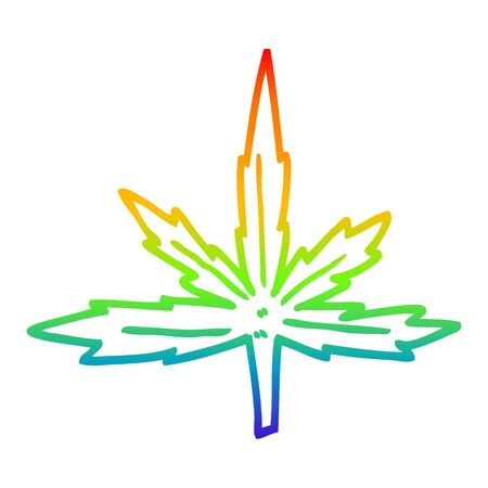 rainbow gradient line drawing of a cartoon marijuana leaf