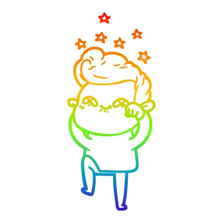rainbow gradient line drawing of a cartoon excited man  イラスト・ベクター素材