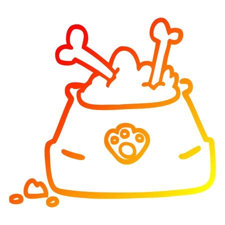 warm gradient line drawing of a cartoon pet bowl Illustration