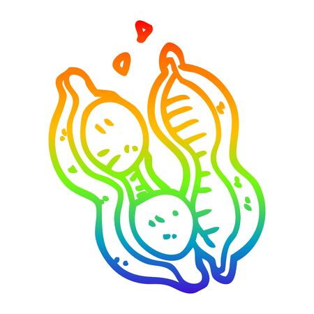 rainbow gradient line drawing of a cartoon peanuts in shell 向量圖像