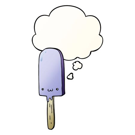 cartoon ice lolly with thought bubble in smooth gradient style