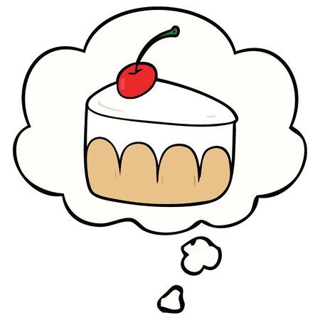 cartoon dessert with thought bubble Иллюстрация
