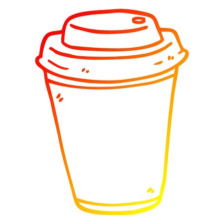 warm gradient line drawing of a cartoon takeout coffee cup
