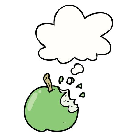 cartoon bitten apple with thought bubble 일러스트