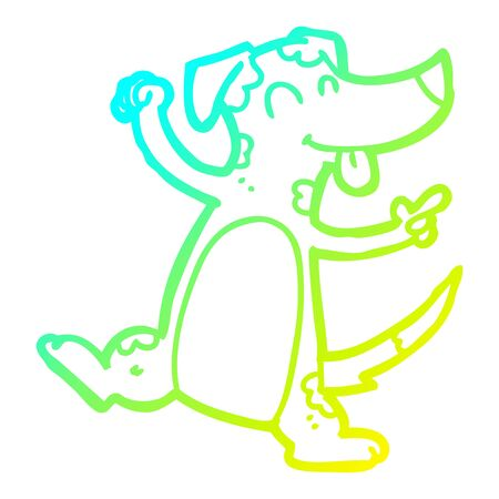 cold gradient line drawing of a cartoon dancing dog