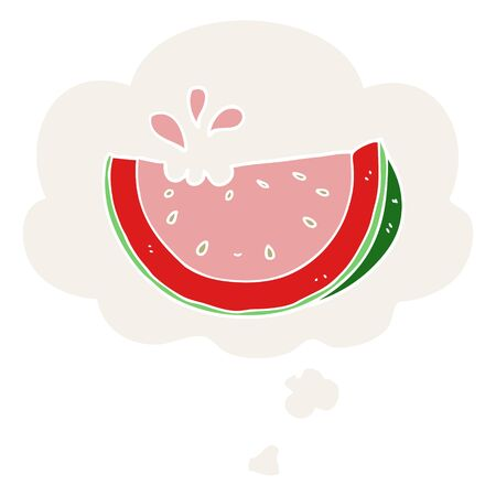 cartoon watermelon with thought bubble in retro style 向量圖像
