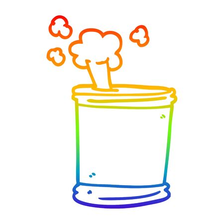 rainbow gradient line drawing of a cartoon can of beer