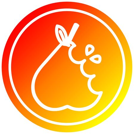 juicy pear circular icon with warm gradient finish Banque d'images - 129820246