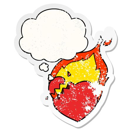 cartoon flaming heart with thought bubble as a distressed worn sticker