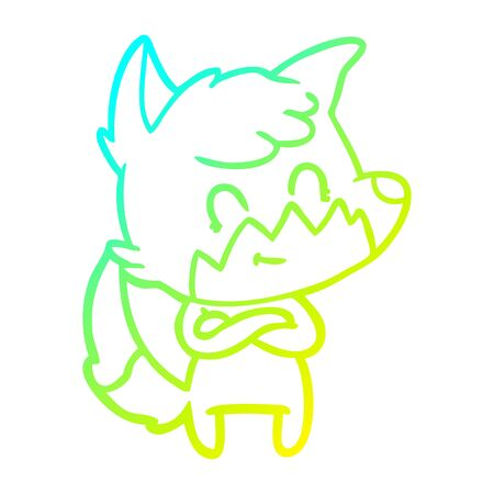 cold gradient line drawing of a cartoon friendly fox