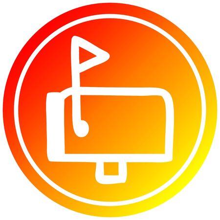 mail box circular icon with warm gradient finish Ilustração