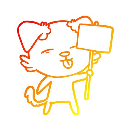 warm gradient line drawing of a cartoon dog holding sign post Ilustração