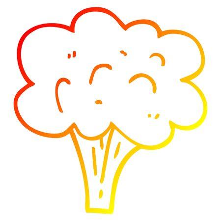 Dibujo de la línea de gradiente cálido de un tallo de brócoli de dibujos animados