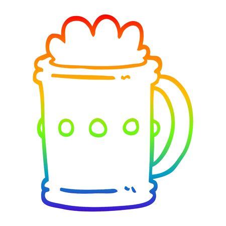 rainbow gradient line drawing of a cartoon beer tankard