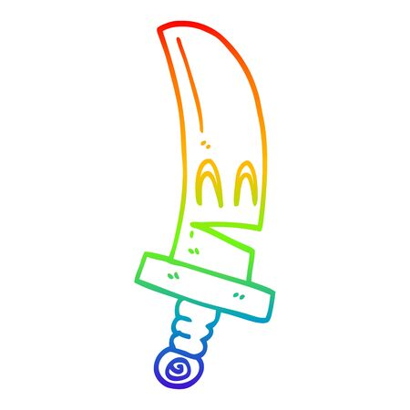 rainbow gradient line drawing of a cartoon happy magical sword 写真素材 - 129820358