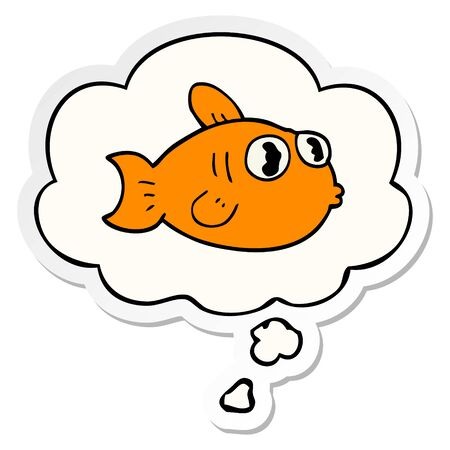 cartoon fish with thought bubble as a printed sticker