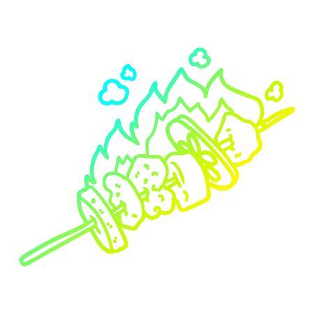 cold gradient line drawing of a cartoon kebab sticks Фото со стока - 129820366