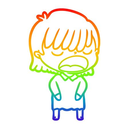 rainbow gradient line drawing of a cartoon woman talking loudly  イラスト・ベクター素材