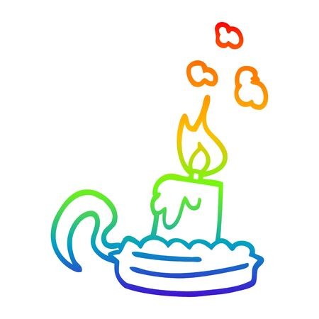 rainbow gradient line drawing of a cartoon candle stick holder 向量圖像