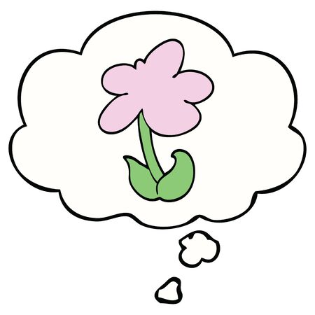 cute cartoon flower with thought bubble