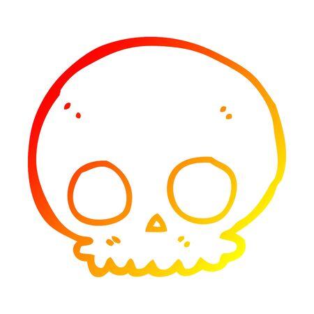 warm gradient line drawing of a cartoon skull