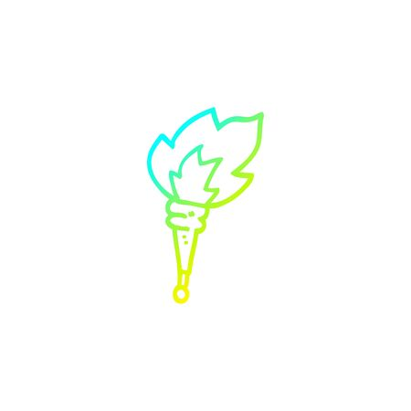 cold gradient line drawing of a cartoon flaming torch Stock fotó - 129820637