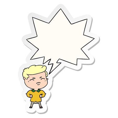 cartoon annoyed man with speech bubble sticker Illusztráció