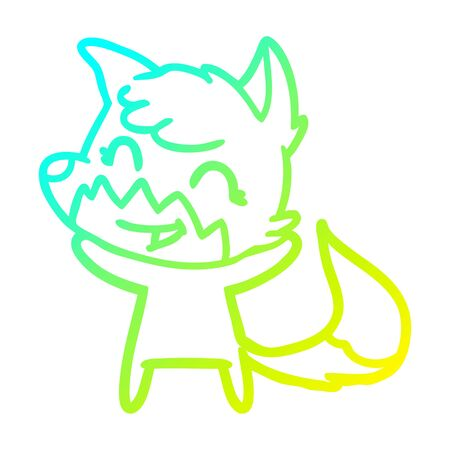 cold gradient line drawing of a happy cartoon fox