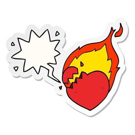 cartoon flaming heart with speech bubble sticker Standard-Bild - 129820648