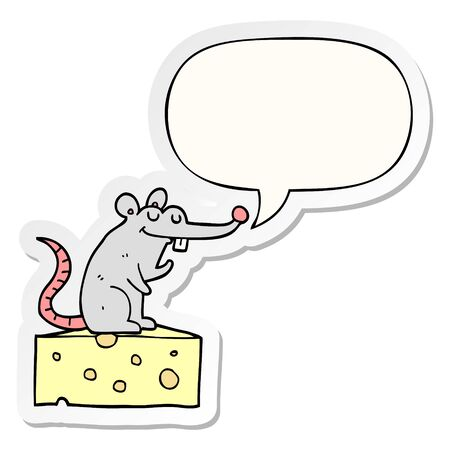 cartoon mouse sitting on cheese with speech bubble sticker