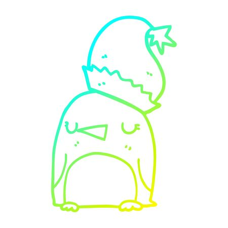 cold gradient line drawing of a cute christmas penguin