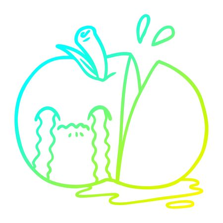 cold gradient line drawing of a cartoon sad sliced apple Иллюстрация