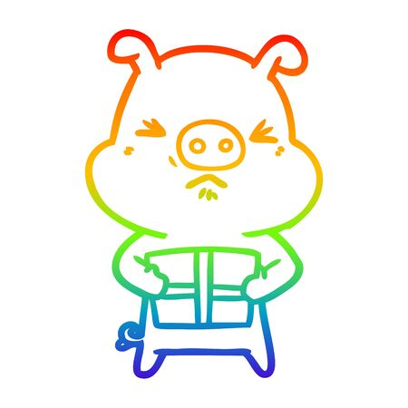 rainbow gradient line drawing of a cartoon angry pig with christmas present