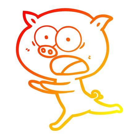 warm gradient line drawing of a cartoon pig running  イラスト・ベクター素材
