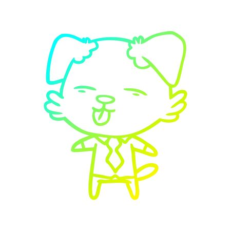 cold gradient line drawing of a cartoon dog in shirt and tie