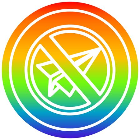paper plane ban circular icon with rainbow gradient finish