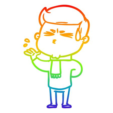 rainbow gradient line drawing of a cartoon man sweating