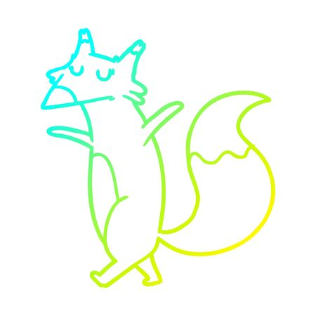 cold gradient line drawing of a cartoon fox