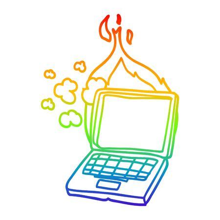 rainbow gradient line drawing of a cartoon broken laptop computer Illusztráció